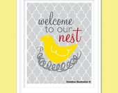 Welcome To Our Nest Art Print, Personalized with your name or initial