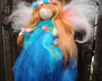 Needle felted wool Blue Fairy Maiden  - Waldorf Inspired by Rebecca Varon