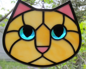 Stained Glass Cat Face Creamy Amber Creamsicle Kitty with Blue Eyes Suncatcher