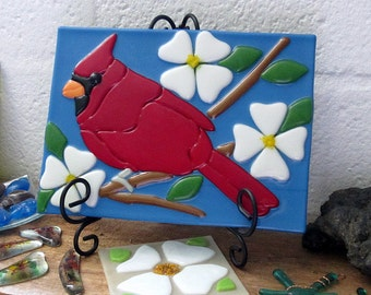 Red Cardinal with White Dogwood Flowers Fused Glass Decorative Tile Panel Plaque