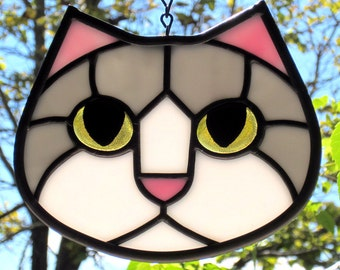 Stained Glass Cat Face Gray and White with Golden Eyes Suncatcher