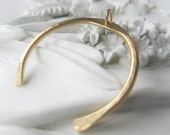 Gold Squash Blossom Gold U Bar Pendant Hammered Brass Pendant Item No. Indian 9334