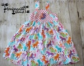 ON SALE Rainbow Pony Knot Dress size 6