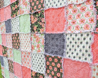Made to Order Rag Quilt - Baby Crib Quilt - pink, green - Shades of Pink, Orange, Green - Floral Quilt - Girl Quilt - Baby Girl