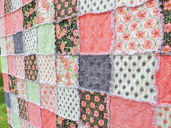Baby Rag Quilt - Crib Quilt - Shades of Pink, Orange, Green - Floral Quilt - Girl Quilt - Baby Girl
