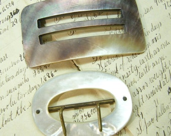 Vintage Buckles, Shell Buckles, Mother of Pearl, Sewing Notions, Large Buckles