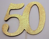 50th Birthday Cake topper - 50 Cake topper - 50th Birthday decoration - Gold Cake topper -  party decorations - Custom topper - any color