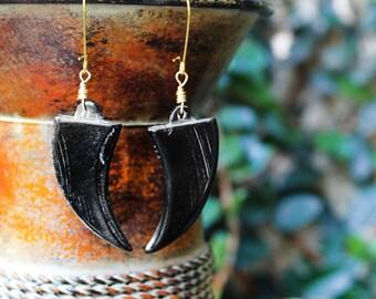 African Earrings, Tribal Earrings, Tusk Earrings, Horn Earrings, Horn Tusk Earrings, Zinhle Black Horn Tusk Earrings