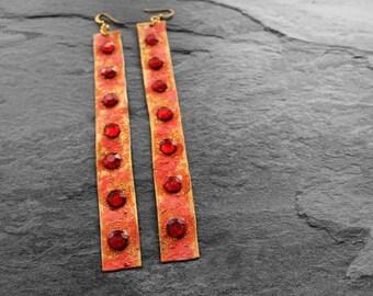 Leather Earrings, Long Earrings, Bejeweled Earrings, Statement Earrings, Red, Gold, Blood Moon Long Leather Bejeweled Earrings V2