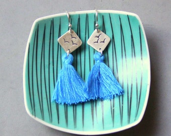 Sterling Silver Earrings with Birds and Blue Tassels - Long Boho Earring - Stamping Jewelry