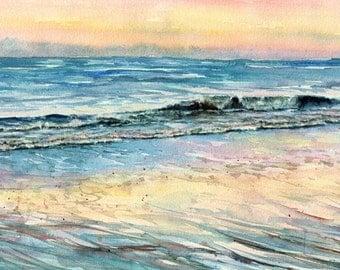Original seascape watercolor painting, Daybreak Singing