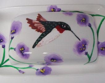 Hummingbird Butter dish, Birds, Bird lovers, Christmas Gift, floral, flowers, entertaining, serving, housewarming gift, wedding gift