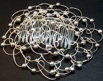 Kippah - Silver wire with large silver beads 4.5""