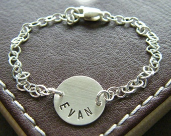 """Personalized Name Bracelet - Custom Hand Stamped Sterling Silver Charm Jewelry - 1/2"""" Charms with Optional Birthstone or Pearl"""