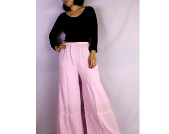 Boho Sweet Soft Cotton Long Ruffle Summer Elastic Waist Wide Legs Pants S-L (H)