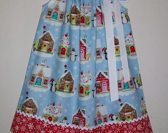 Christmas Dress Gingerbread House Pillowcase Dress with Penguins Holiday Dresses Kids Christmas Clothes Dress with Snowflakes Holiday Outfit