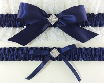 Navy Blue & White Bridal Wedding Garter Set
