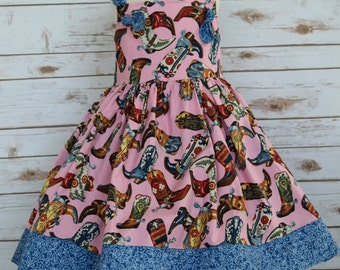 Girls Western Dress-Girls Boutique Dress-Pageant Dress-Girls Clothing-Girls Knot Dress-Ready to Ship-Cowgirl Boot Dress-Size 5