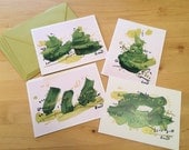 Set of Four Greeting Cards - Evergreen series