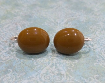Brown Clip-on Earrings, Post Clip On Earrings, Non Pierced Earings, Brown Jewelry, Autumn - Mona- -6
