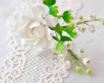 Gardenia, Lily of the Valley and Maidenhair Fern Hair Pin