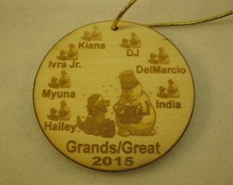 2016 Wooden Personalized Snowman with puppy Family or Grandparent Ornament tag