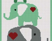 Elephants in Green with Hearts  Stacking Afghan Crochet Pattern Graph DIGITAL DOWNLOAD