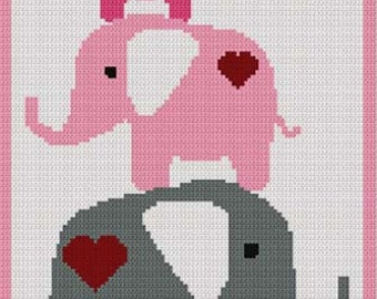 Elephants in Pink with Hearts  Stacking Afghan Crochet Pattern Graph DIGITAL DOWNLOAD