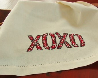 Tea Towel Dish Towel Bandanna Hugs & Kisses XOXO Valentines Day Raw Edge Applique Kitchen Towel Simple Modern Cook Foodie Gift Kitchen Decor