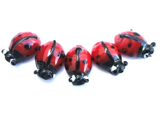5 Ladybugs glass Beads  handmade beetle lampwork suitable for kids