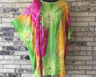 Plus Size Sequined Tie Dye Tunic