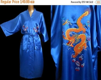 JULY SALE Vintage 80s Robe Kimono Dressing Gown, 1980s Embroidered Dragon Haori, L to Xl, Large to Extra Large