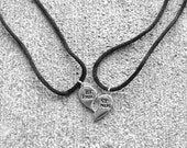 "Two ""Best Friends"" Heart Charm Necklaces"