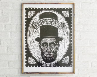 Art, Abe Lincoln Woodcut Portrait Print, Abe Lincoln Poster Size Woodcut Print, Abe Lincoln Print, Wall Art, Honest Abe Artwork