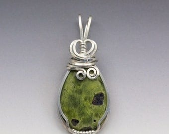 Stichtite in Serpentine Sterling Silver Wire Wrapped Pendant - Ready to Ship!