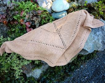 Beige Cotton Boucle Hand Knit Triangular Eyelet Stripe Shawl or Scarf