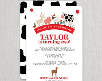 Farm Birthday Invitation for a Girl or Boy | Farm Party Invite | Petting Zoo Invitation | Farm Theme Party | Girl Farm Party