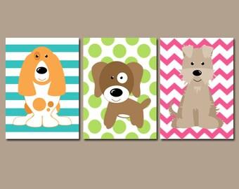 Girl DOG Wall Art, Girl Puppy Decor, Girl Dog Bedroom Pictures, Girl Dog Decor, Girl Dog Theme, Pet Lover Decor, Canvas or Prints, Set of 3