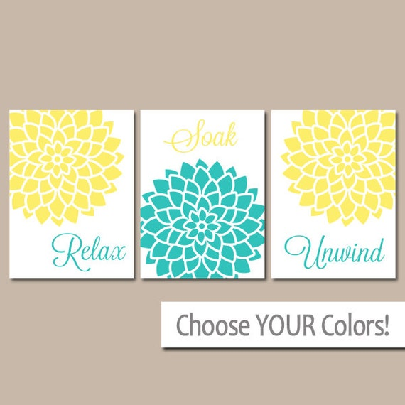 Yellow turquoise bathroom wall art canvas or prints bathroom - Yellow and turquoise bathroom ...