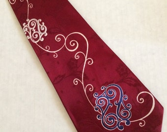 Vintage 40's Mens Silk Wide Neckte Swing Era Burgundy Jacquard