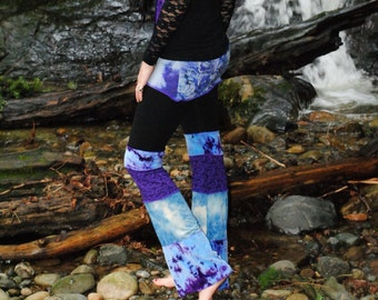 Festival Clothing, Purple and Blue Hippie Pants, Hand Dyed, Patchwork Skirted Pants, Intergalactic Apparel
