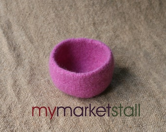 Raspberry Mohair Felted Bowl - Ready-to-Ship