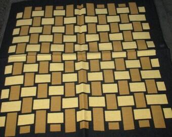 Vintage MOD 60s Graphic Black and Tan Woven Motif Napkin Lot of Six Napkins Fallani & Cohn
