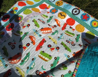 Large Quilted Throw made with On the Go Fabric featuring cars and transportation for a boy