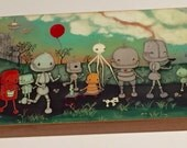 Robot Parade Nursery Art Bird Balloon Wall Art ---Cedar Wood Block