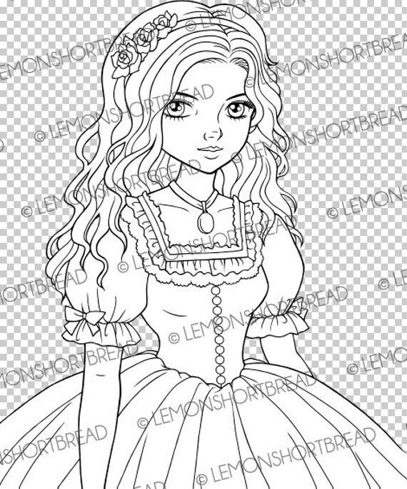 Digital stamp belle dress girl digi southern victorian for Southern belle coloring pages