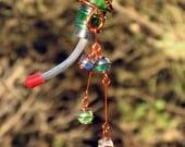 Hummingbird Feeder with Recycled Spring Green Glass Bottle & Copper Wrapped Glass Marbles