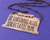 Addams Credo Necklace - Sic Gorgiamus Allos Subjectatos Nunc - Headstone - Halloween Costume - Halloween Necklace - Ready to Ship