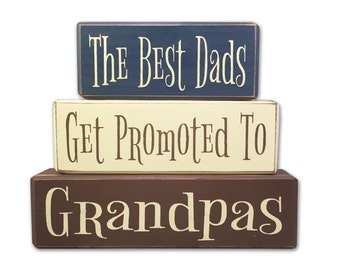 father's day gift grandpa gift best dad's get promoted papas grandpas personalized gifts for him gifts for dad stacking wood sign blocks