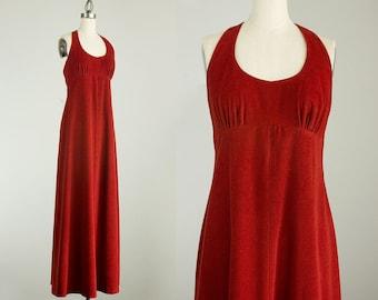 70s Vintage Sienna Halter Neck Floor Length Maxi Sun Dress / Size Medium / 1970s Hippie Boho Style / Disco Flower Child